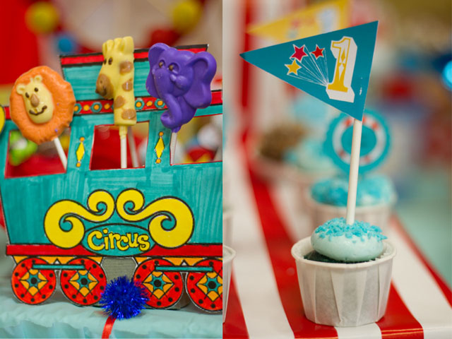 vintage circus animal pops and cupcakes