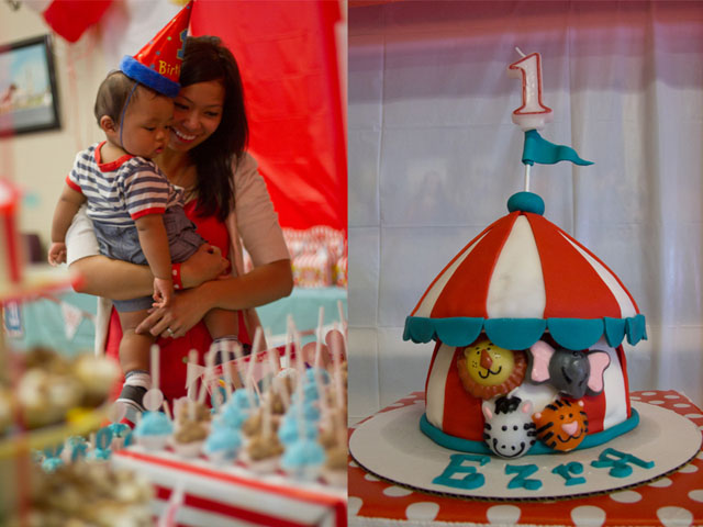 vintage circus cake and birthday boy