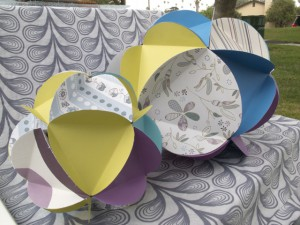 paper globes close up