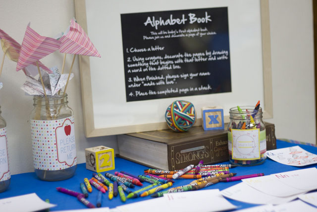 Back to school themed baby shower Alphabet Book Instructions