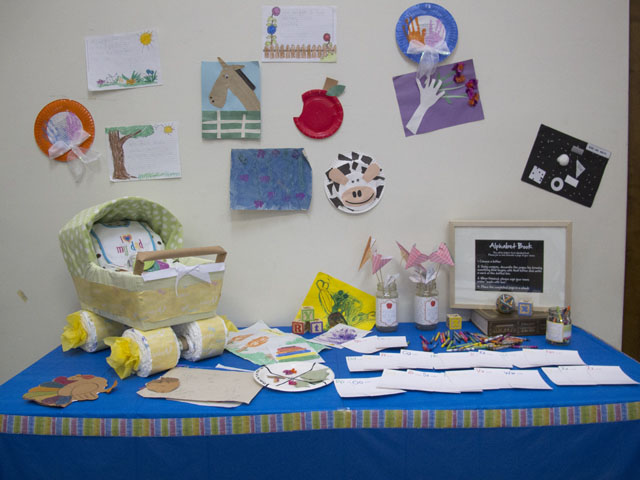 Back to School themed baby shower Arts and Crafts Table