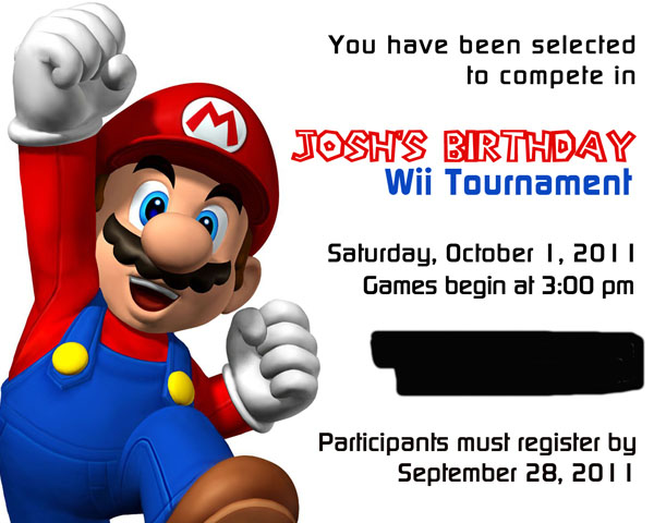 super mario wii tournament invitation