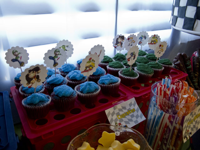 super mario dessert table cupcakes and candy