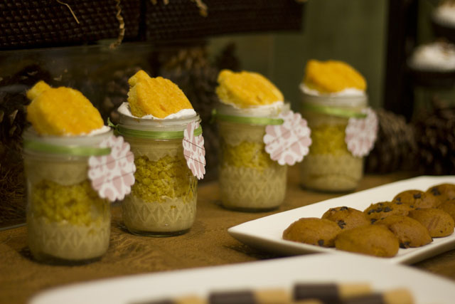 pumpkin mousse trifle with gingerbread crumbs