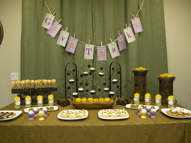 """give thanks"" thanksgiving dessert table"