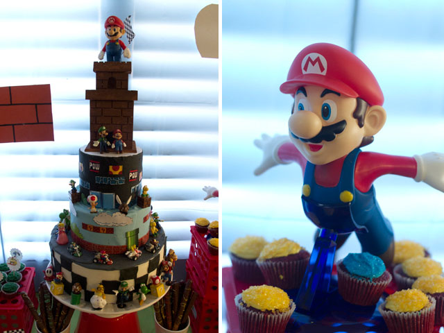 super mario dessert table cake
