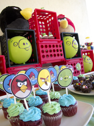 angry birds cupcakes and Cupcake Toppers