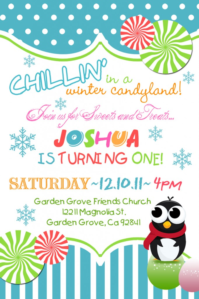 winter candyland invitation