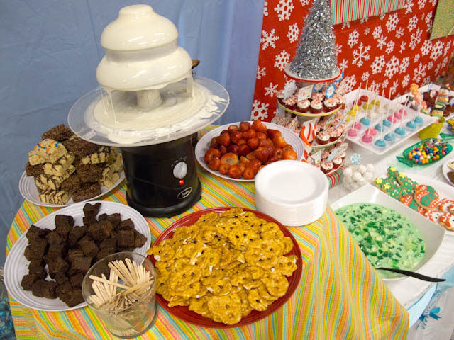 winter candyland chocolate fountain and desserts