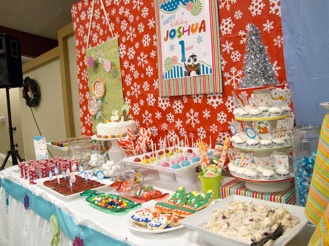 winter candyland dessert table