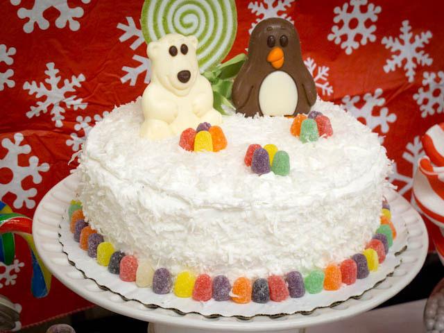 winter candyland cake