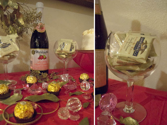 pink and gold inspired dessert table with ferrero rocher and cider