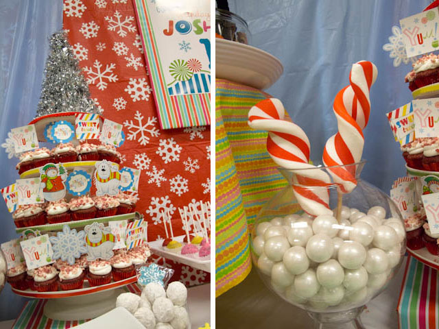 winter candyland cupcake tower