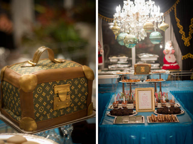louis vuitton inspired dessert table and cake