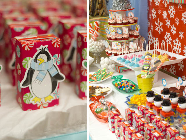 winter candyland desserts and juice box