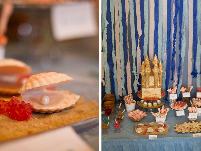 under the sea pearl and dessert table