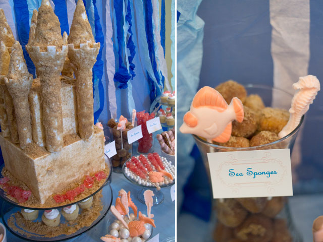 under the sea castle cake and sea sponges