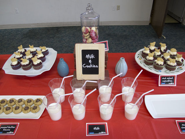 ARC teachers workshop desserts (milk, cookies, and cupcakes)