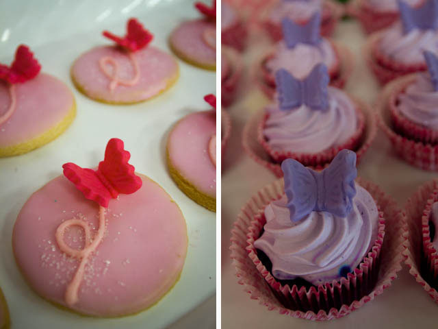 butterfly strawberry cupcakes and cookies
