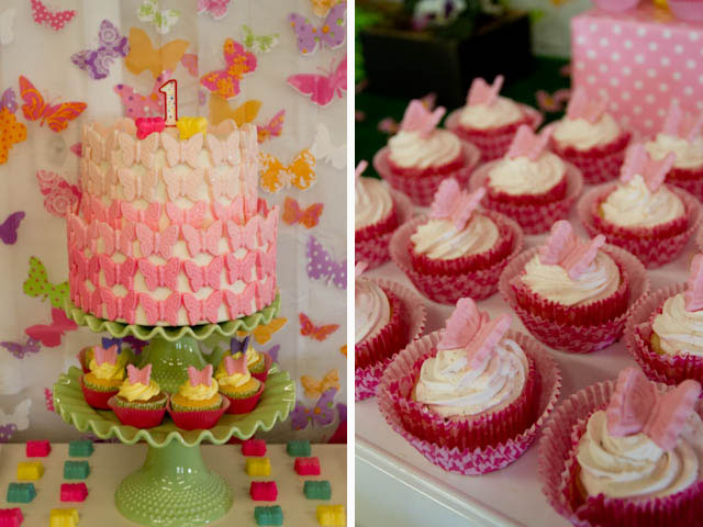 butterfly cake and strawberry cupcakes
