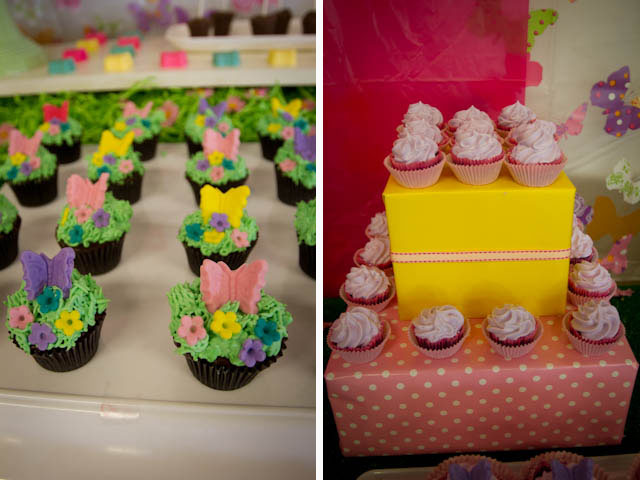 butterfly cupcakes and cupcake tower