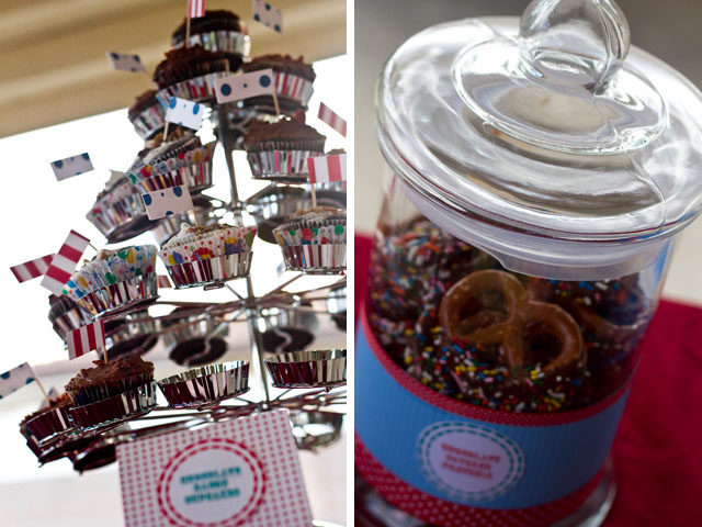 carnival baby shower cupcakes and pretzels