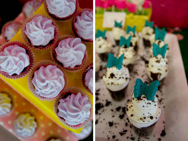 butteryfly party strawberry cupcakes and chocolate trifle cups