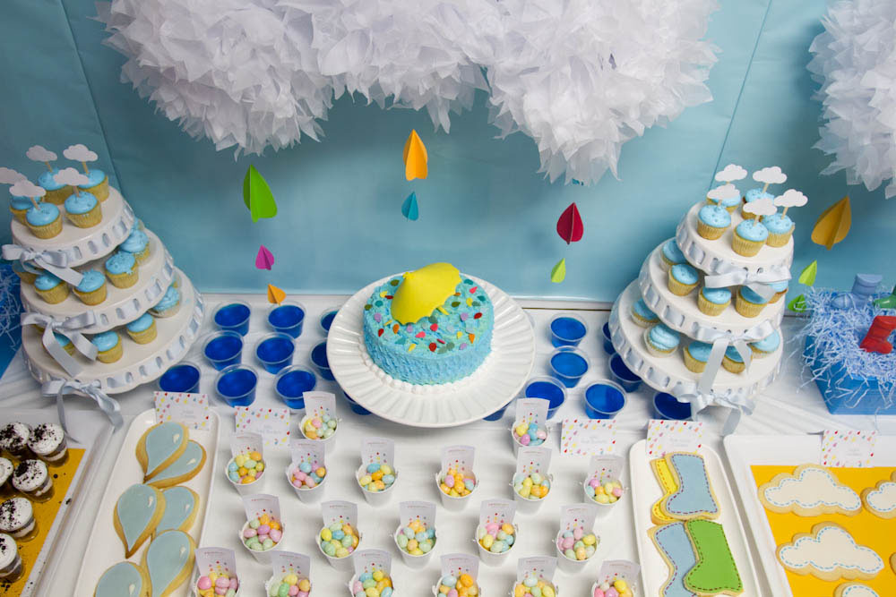 april showers dessert table aerial view