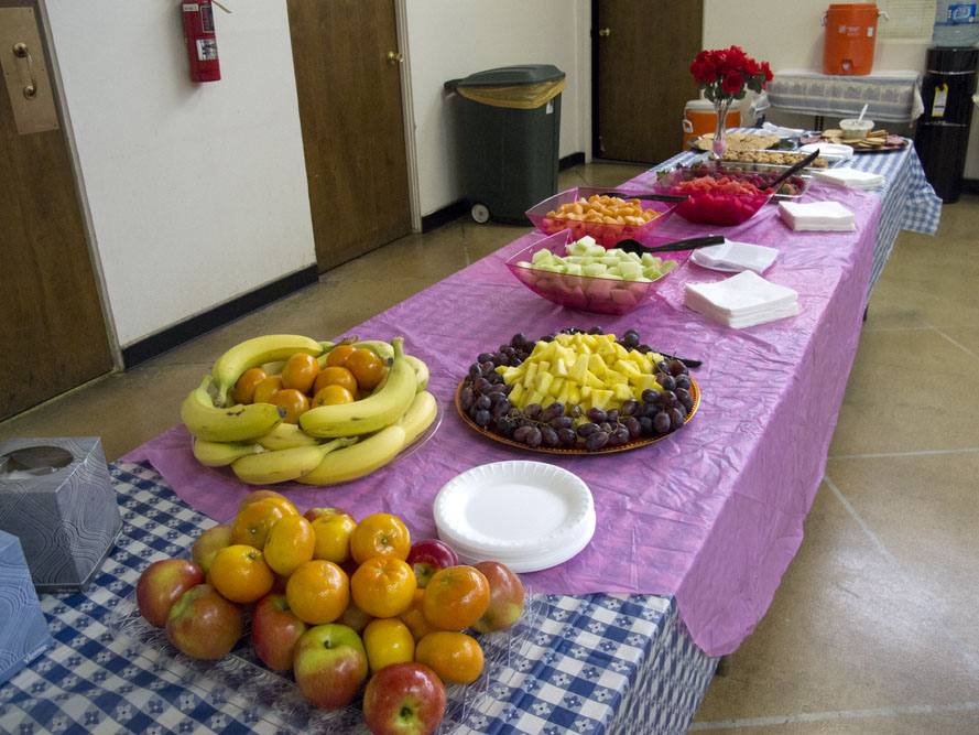 1950s themed Mother's Day Brunch fruits and food