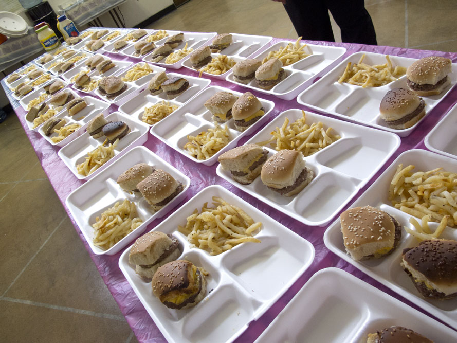 1950s themed Mother's Day Brunch burgers and fries