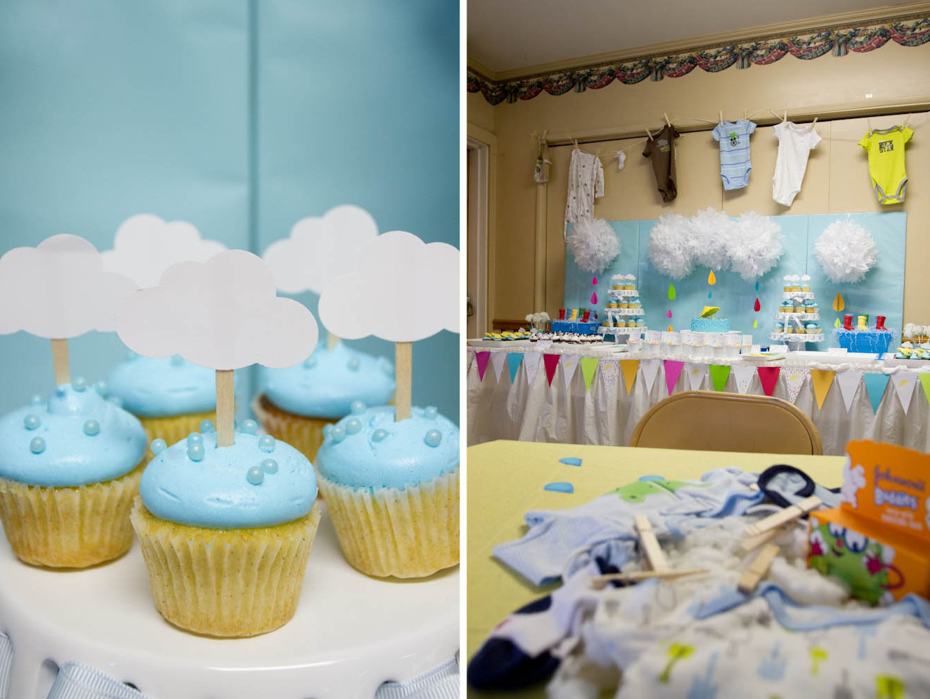 april showers cupcakes with clouds and clothesline