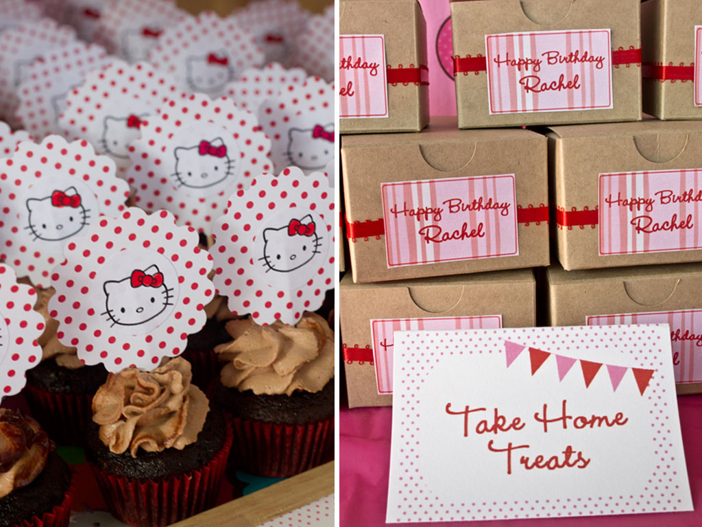 hello kitty mocha cupcakes and favor boxes