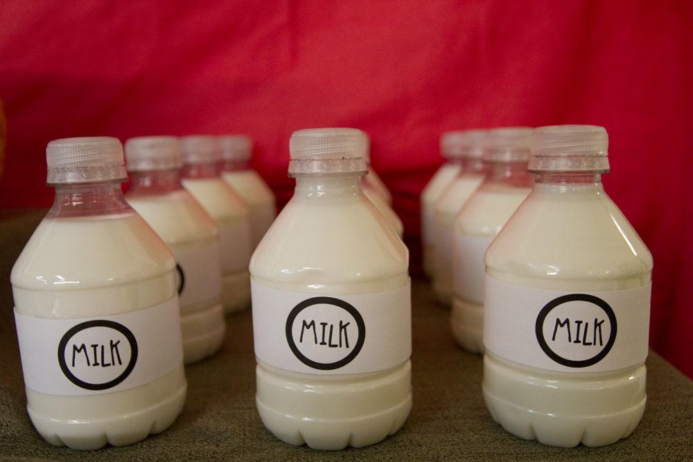 milk in little water bottles