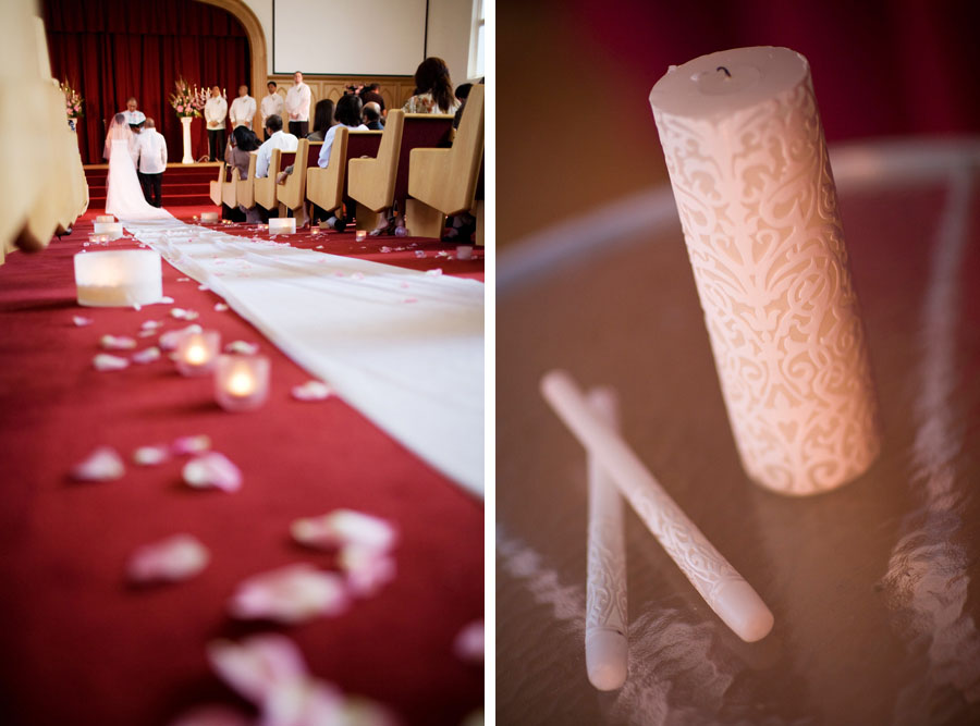 Cherry Blossom Wedding aisle and candle