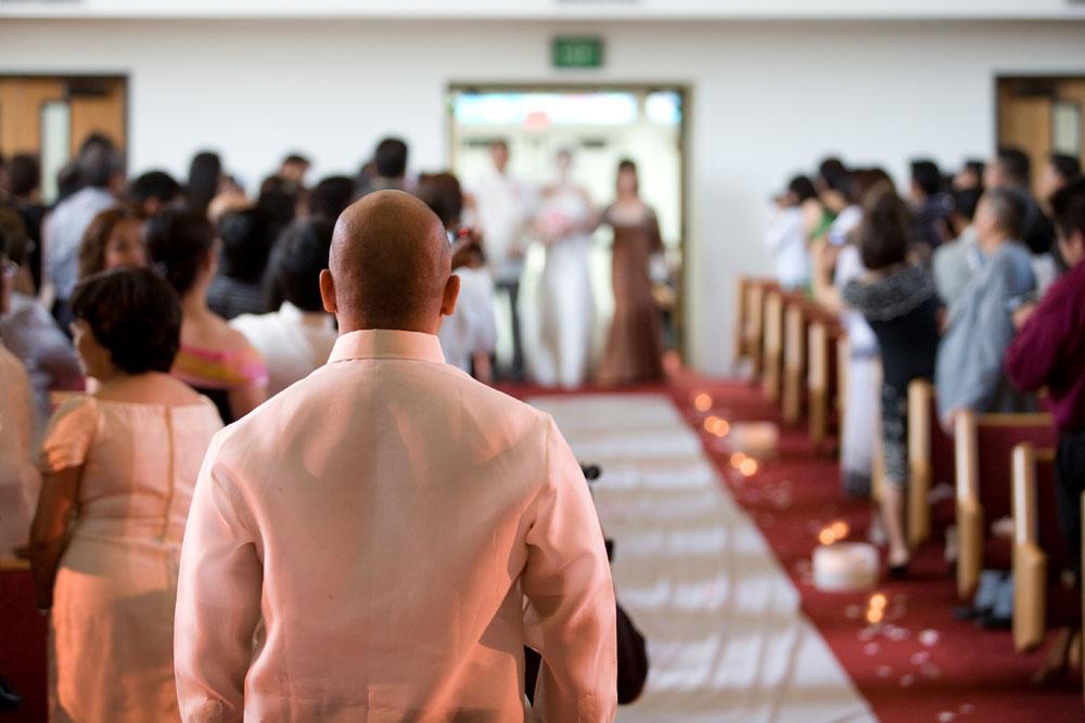 Cherry Blossom Wedding groom looking at bride