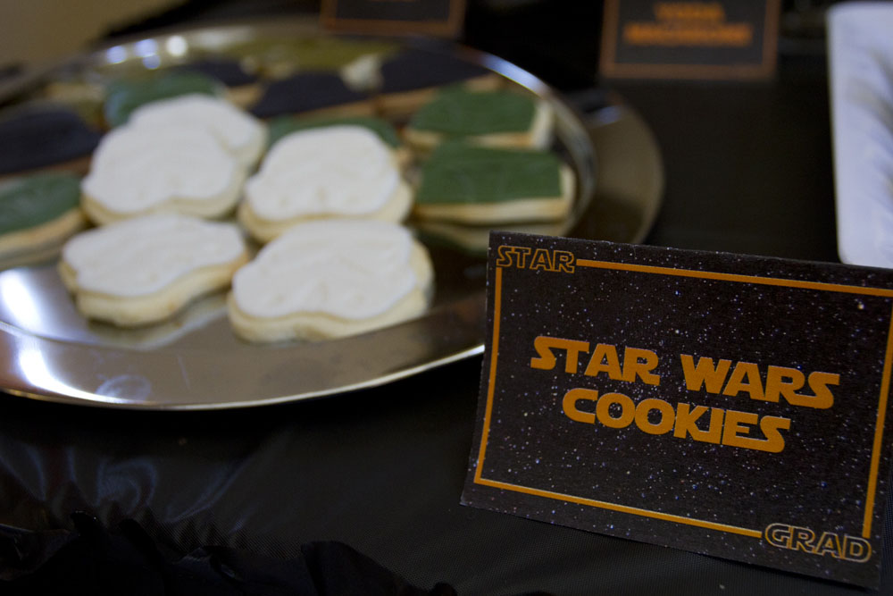 star wars cookies: Yoda, Darth Vader, Boba Fett, Stormtrooper