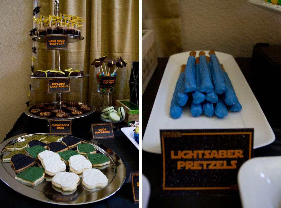 star wars graduation desserts and lightsaber pretzels