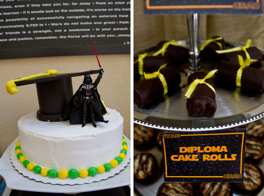 star wars cake with darth vader topper and diploma cake rolls