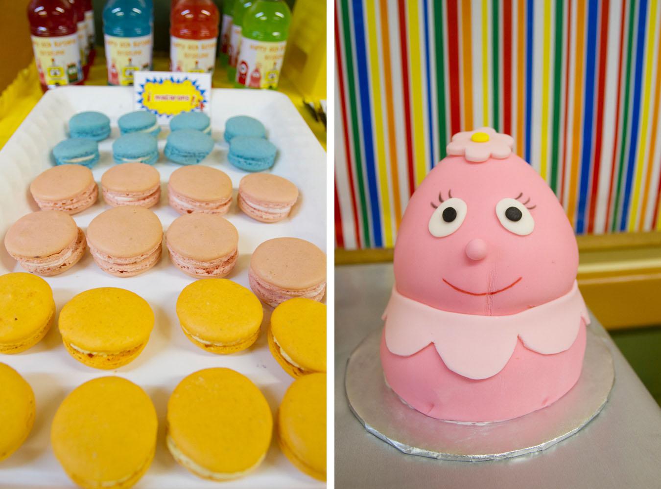 foofa cake and macarons
