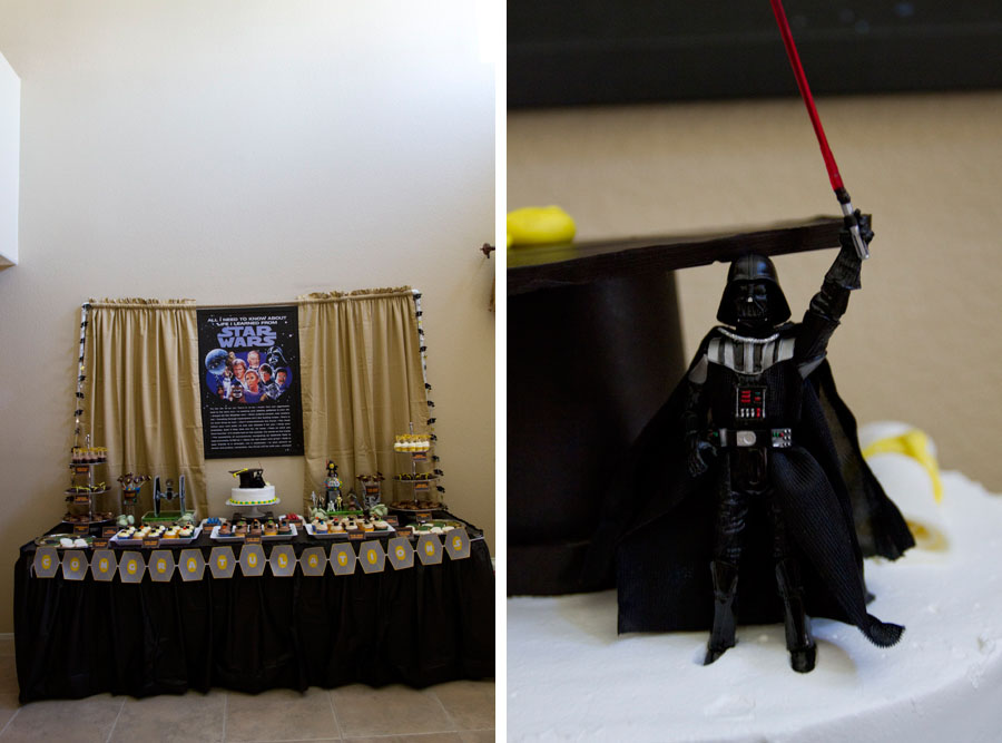 star wars themed graduation dessert table and darth vader
