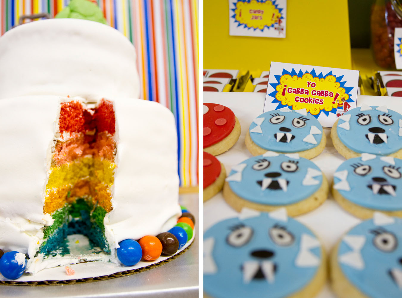 yo gabba gabba rainbow cake and cookies