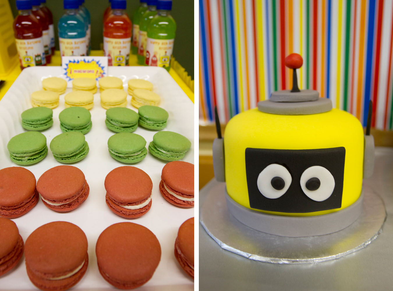 robot cake and macarons