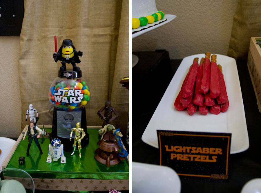 Darth Vader M&M dispenser, star wars toys, and lightsaber pretzels