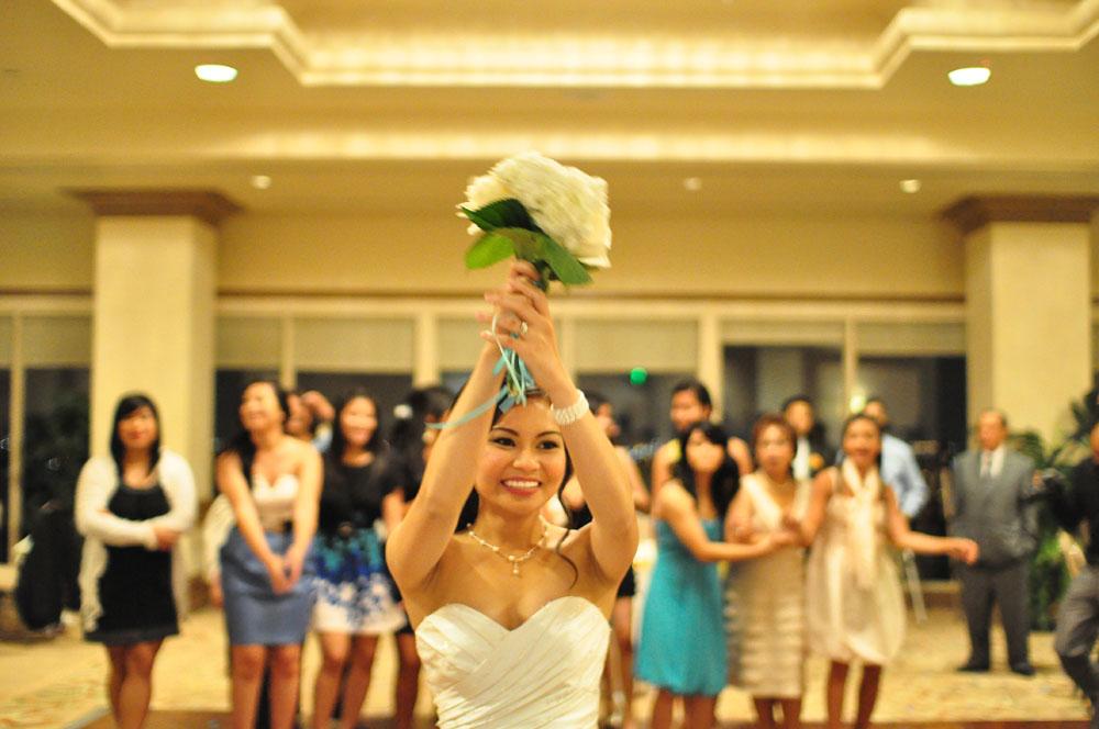 Beach Wedding Bridal Bouquet Toss