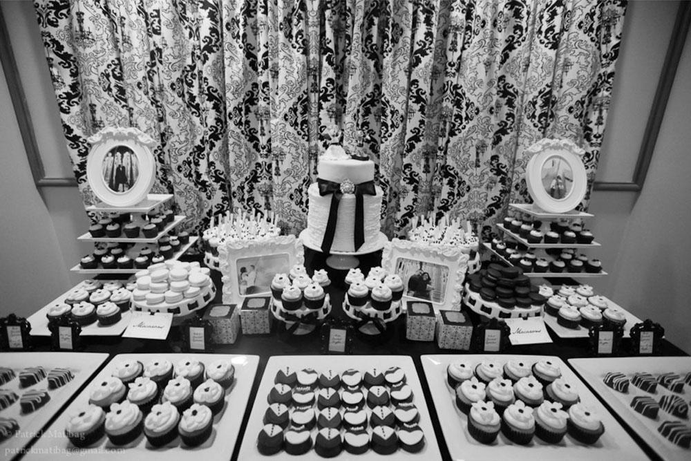 damask wedding dessert table