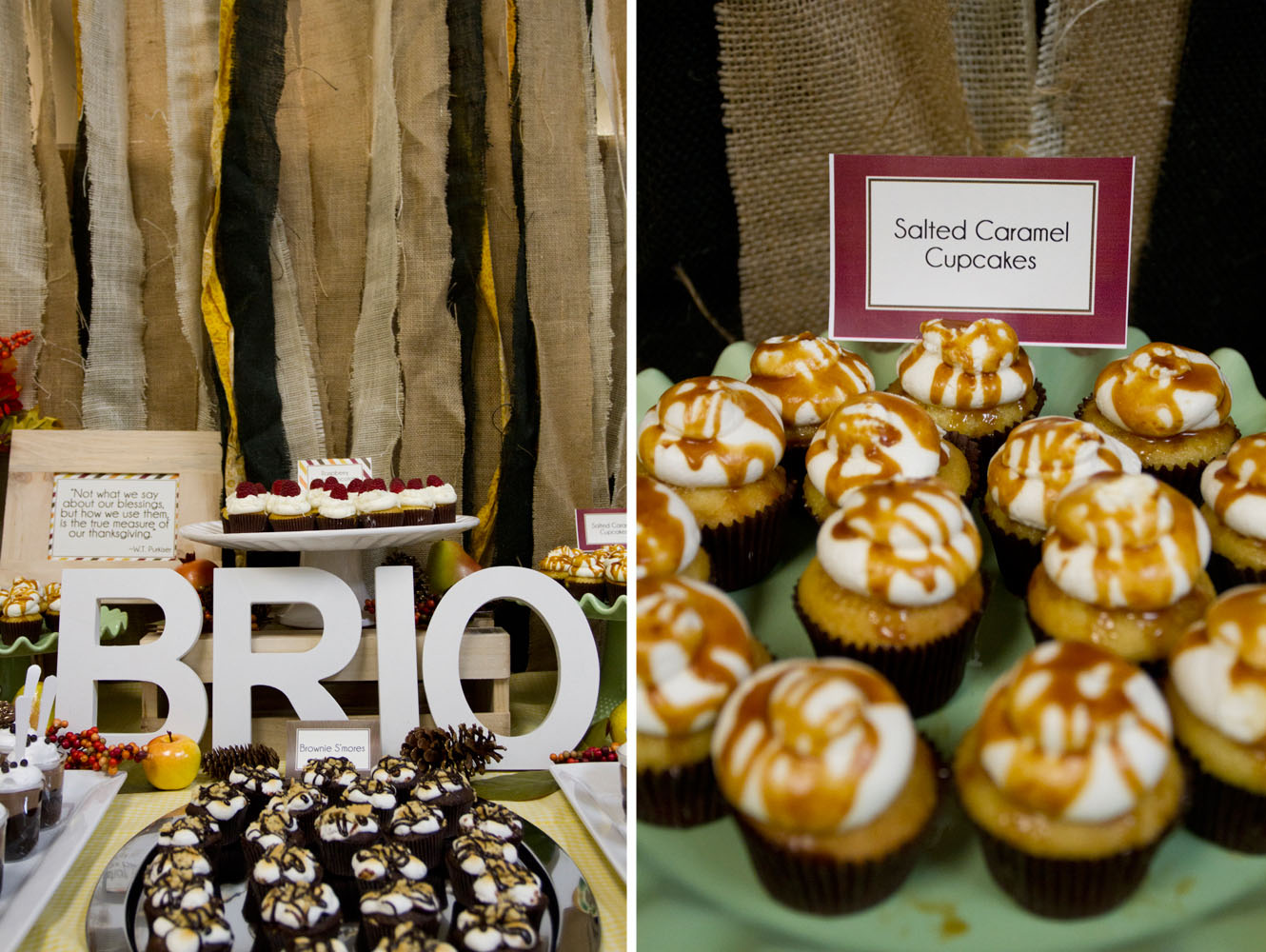 fall inspired dessert table Salted Caramel cupcakes