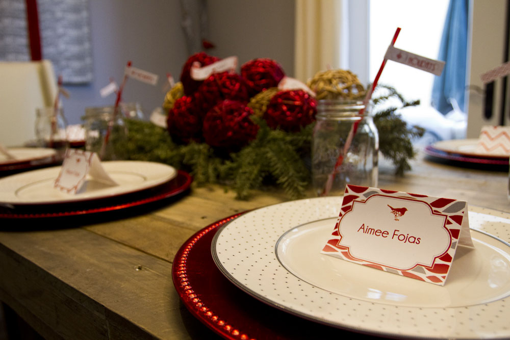 rustic modern winter table setting