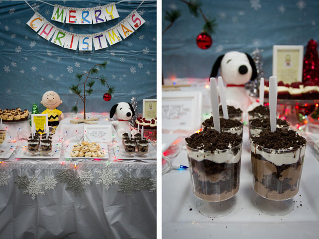 charlie brown christmas dessert table014