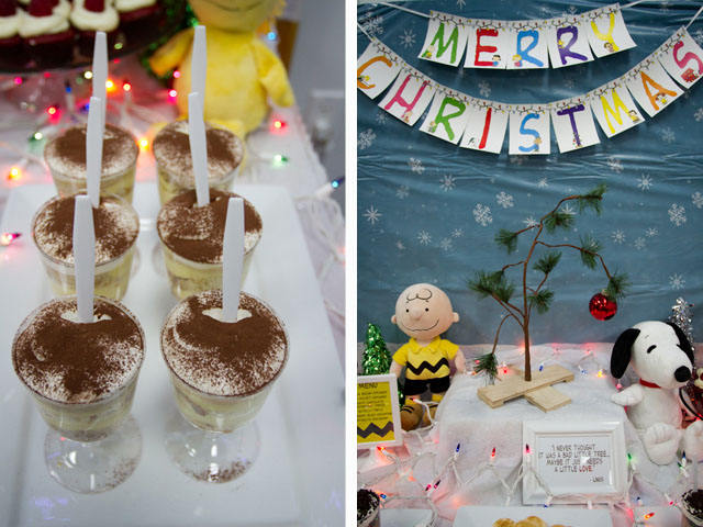 charlie brown christmas dessert table018
