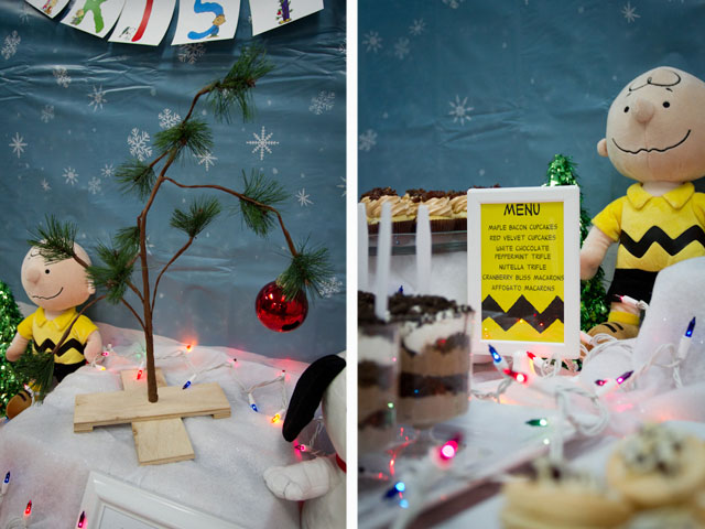 charlie brown christmas dessert table019